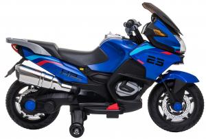 Motocicleta electrica cu 2 roti Premier Flash, 12V, roti cauciuc EVA, MP3, albastra [14]