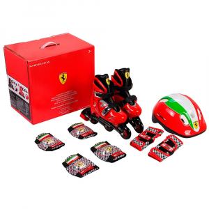 Set role reglabile Ferrari cu casca, genunchiere, cotiere4