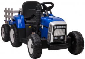 Tractor electric cu remorca Premier Farm, 12V, roti cauciuc EVA, albastru [16]