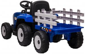 Tractor electric cu remorca Premier Farm, 12V, roti cauciuc EVA, albastru [9]