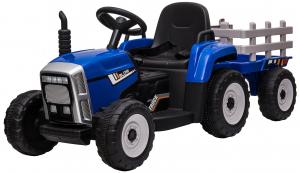 Tractor electric cu remorca Premier Farm, 12V, roti cauciuc EVA, albastru [0]
