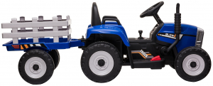 Tractor electric cu remorca Premier Farm, 12V, roti cauciuc EVA, albastru [12]