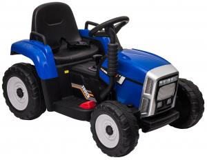 Tractor electric cu remorca Premier Farm, 12V, roti cauciuc EVA, albastru [21]