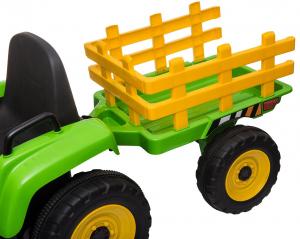 Tractor electric cu remorca Premier Farm, 12V, roti cauciuc EVA31