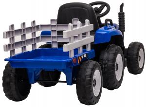 Tractor electric cu remorca Premier Farm, 12V, roti cauciuc EVA, albastru [11]