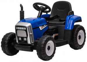 Tractor electric cu remorca Premier Farm, 12V, roti cauciuc EVA, albastru [17]