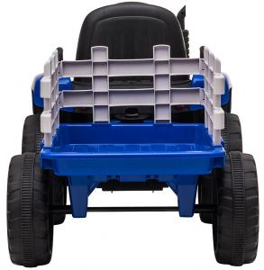 Tractor electric cu remorca Premier Farm, 12V, roti cauciuc EVA, albastru [10]