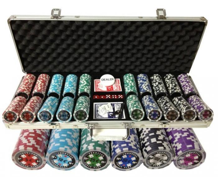 Set poker cu 500 chips-uri ABS 11,5g model EPC si servieta din aluminiu 0