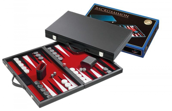 Set joc table/Backgammon in stil Casino - Compact- 38x47 cm - Rosu 1