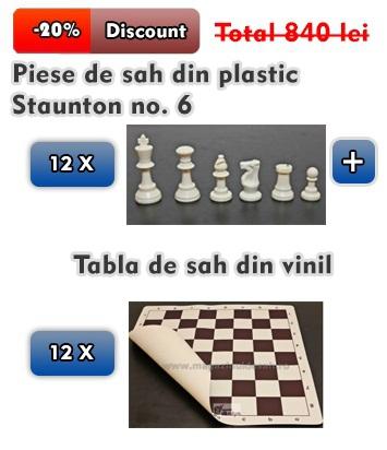 12 X Piese de sah din plastic Staunton no.6 + Tabla de sah din vinil 0