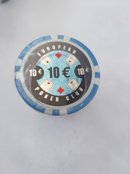 Set 25 jetoane poker ABS 11, 5 gr model EPC - inscripționat 10€ 0