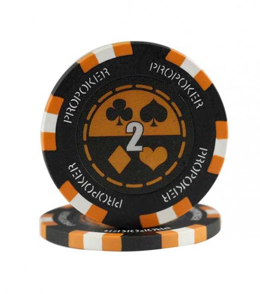 Jeton Pro Poker - Clay - 13,5g - Culoare Portocaliu, inscriptionat (2) 0