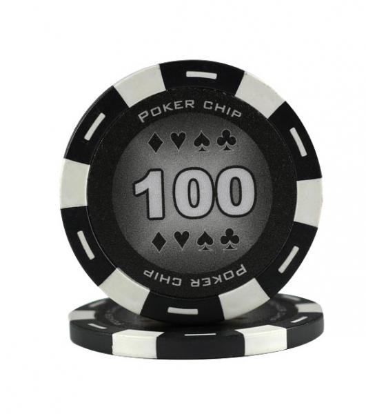 Jeton Poker Chip 11.5g - Culoare Negru - inscriptionat (100) 0