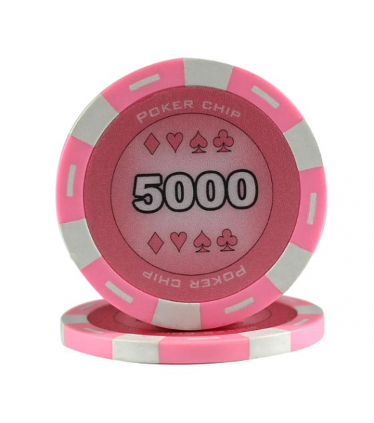 Jeton Poker Chip 11.5g - Culoare Roz - inscriptionat (5000) 0