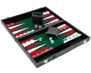 Set joc table Backgammon in stil Casino - Compact- 38x47 cm - Verde - Imperfect