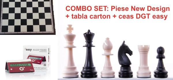 Combo set: Piese plastic sah Staunton New Design + tabla carton sah + ceas sah DGT easy Crimson Cruz 0