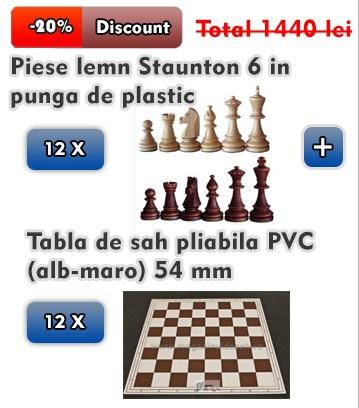 12 X Piese lemn Staunton 6 in punga de plastic + Tabla sah pliabila (alb - maro) 54 mm 0