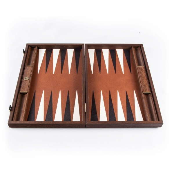Set joc table backgammon piele model Caramel Brown 48 x 60 cm
