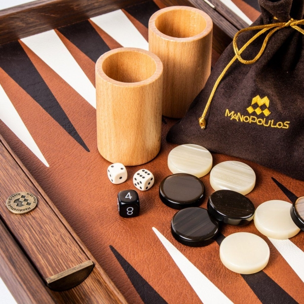 Set joc table backgammon piele model Caramel/Brown 48 x 60 cm 1