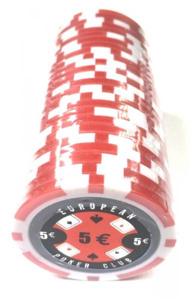 Set 25 jetoane poker ABS 11, 5 gr model EPC - inscripționat 5€ 0