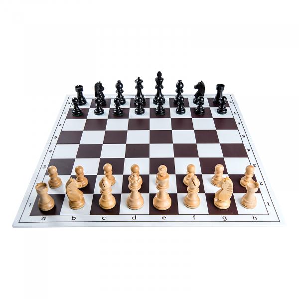 Piese sah lemn Staunton 6 Clasic Black cu tabla pvc alb-maro 1