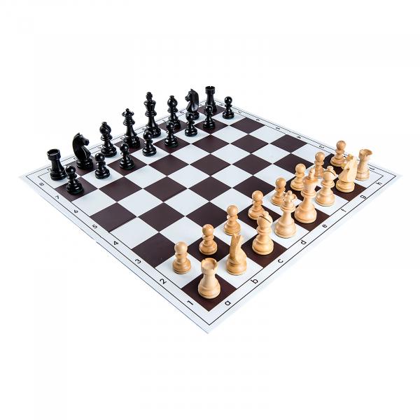Piese sah lemn Staunton 6 Clasic Black cu tabla pvc alb-maro 0