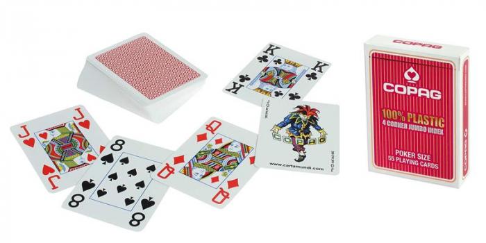 Carti de joc 100% Plastic Jumbo Index-COPAG - Rosu [0]
