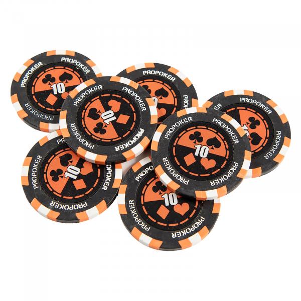 Jeton Pro Poker - Clay - 14g - Culoare Orange, inscriptionat (10) 0