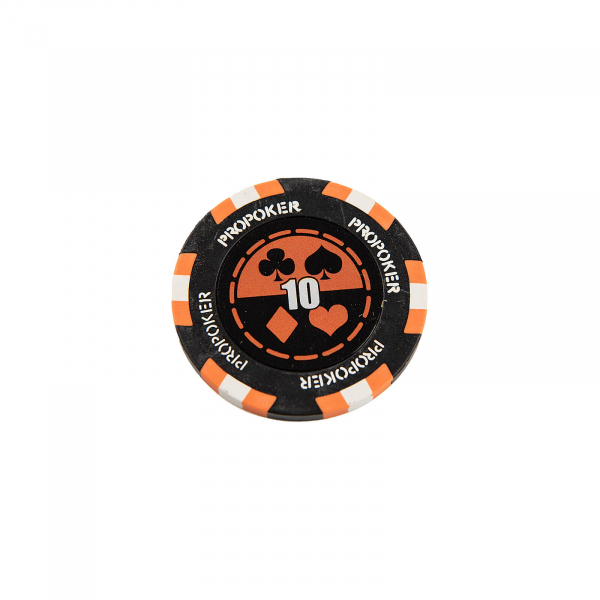 Jeton Pro Poker - Clay - 14g - Culoare Orange, inscriptionat (10) 1