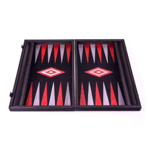 Set joc table backgammon - stejar negru cu linii argento - 48x60 cm 1