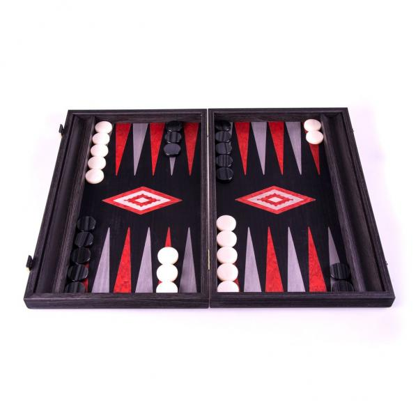Set joc table backgammon - stejar negru cu linii argento - 48x60 cm imagine