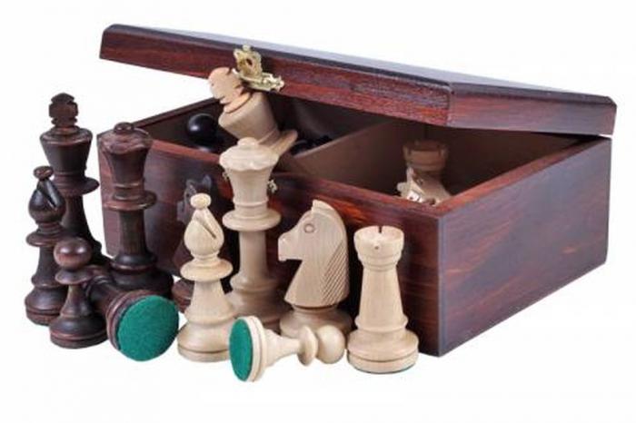 Piese lemn Staunton 5 in cutie  cu tabla mahon nr. 5 1