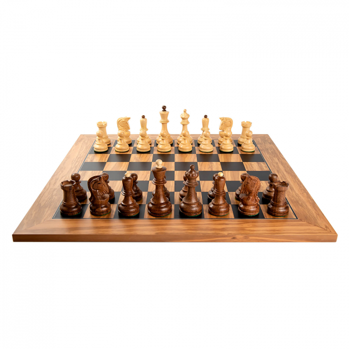 Piese sah Staunton 6 Dubrovnik cu tabla de sah din maslin no. 5 [3]