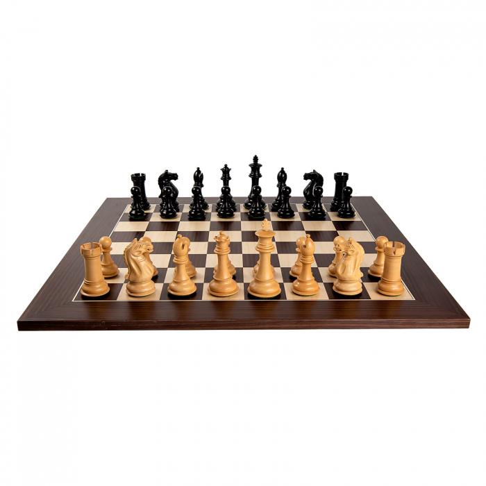 Piese sah Staunton 7 Oxford Black cu tabla macassar 1