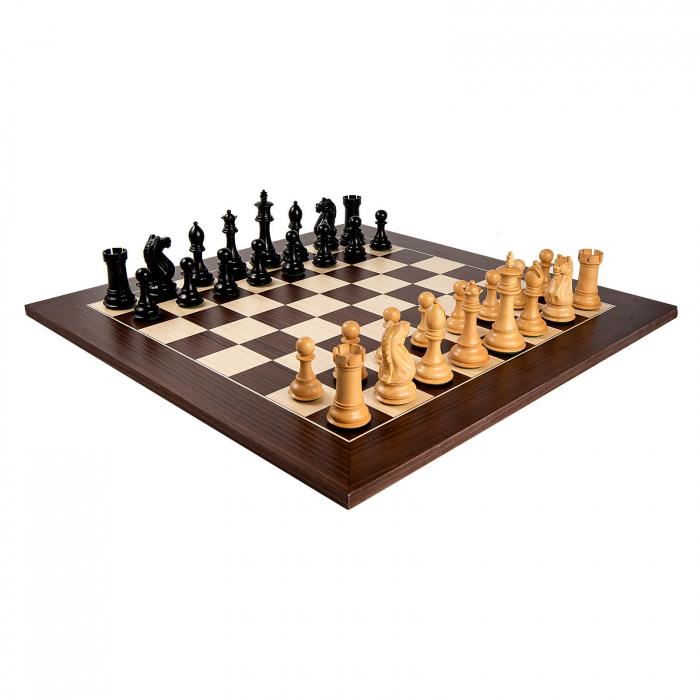 Piese sah Staunton 7 Oxford Black cu tabla macassar 2
