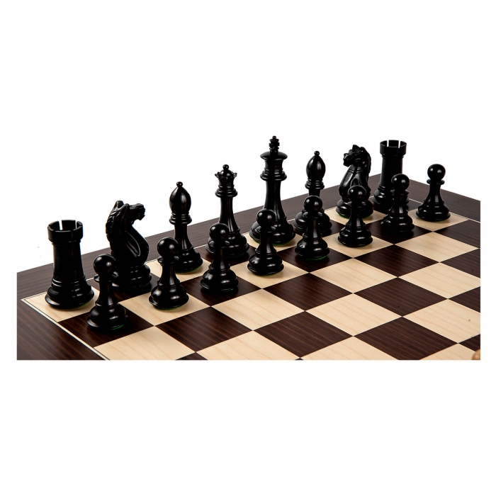 Piese sah Staunton 7 Oxford Black cu tabla macassar 0