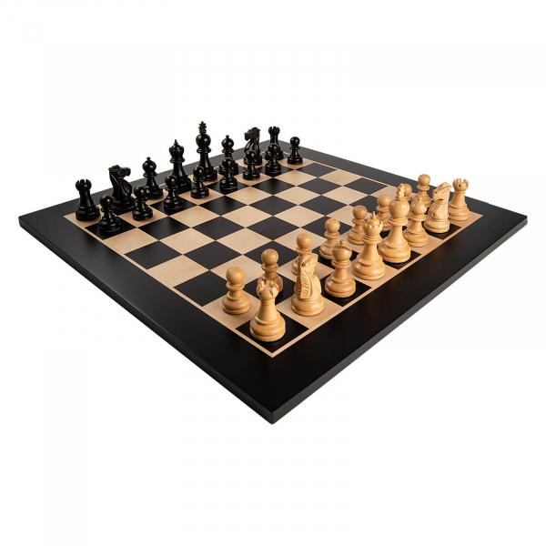 Piese de sah lemn Staunton 5 Galerius in cutie cu tabla de sah Black/Artar Bruxelles 1