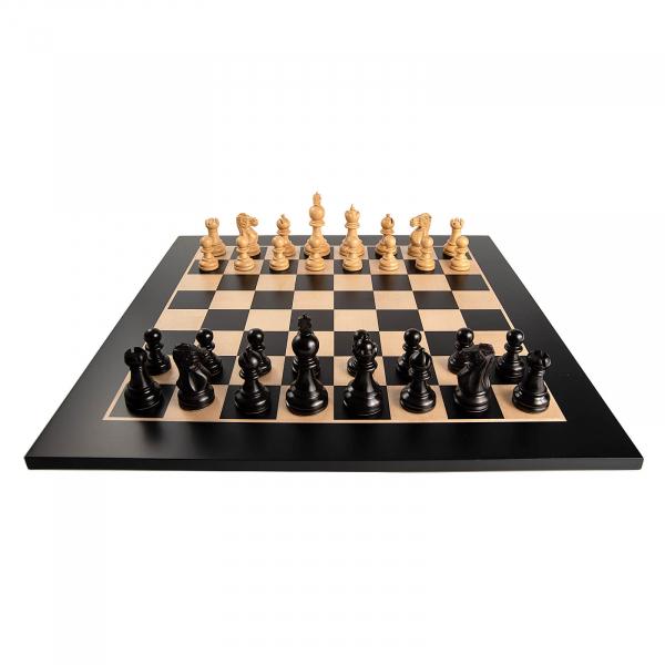 Piese de sah lemn Staunton 5 Galerius in cutie cu tabla de sah Black/Artar Bruxelles 2