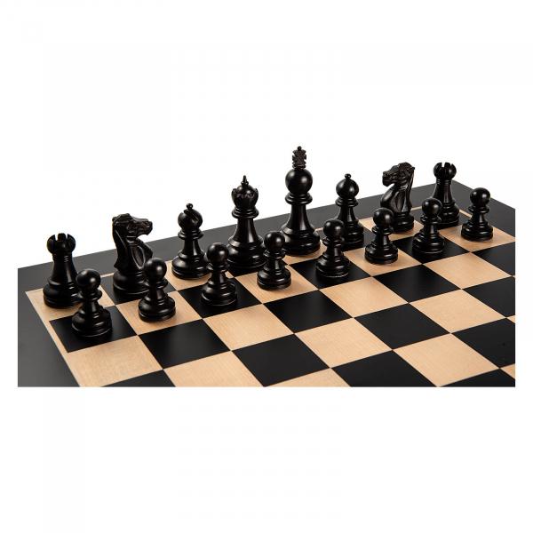 Piese de sah lemn Staunton 5 Galerius in cutie cu tabla de sah Black/Artar Bruxelles 0