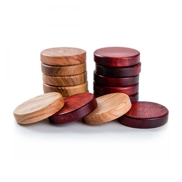 Puluri joc table din lemn de maslin - rosu - 37mm 1