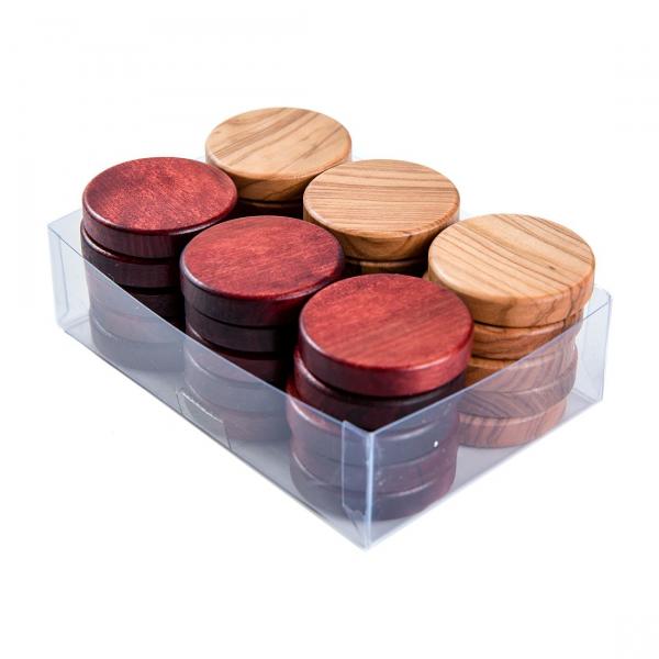 Puluri joc table din lemn de maslin - rosu - 37mm