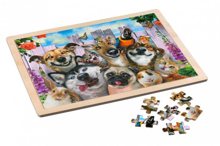 Puzzle in cadru de lemn, 48 piese - Pet 0