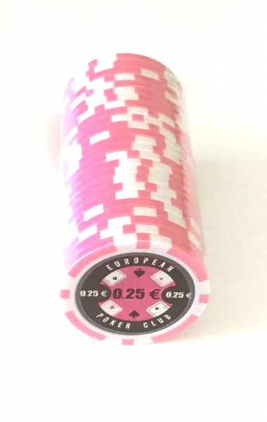 Set 25 jetoane poker ABS 11, 5 gr model EPC - inscripționat 0,25 € 0