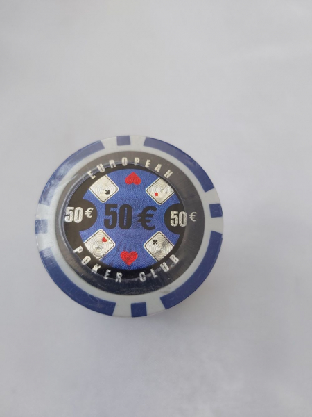Set 25 jetoane poker ABS 11, 5 gr model EPC - inscripționat 50€ 0