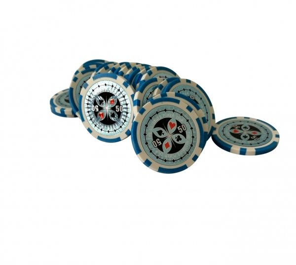 Set 25 jetoane poker ABS 11,5 gr model Ultimate, inscr. 50 1