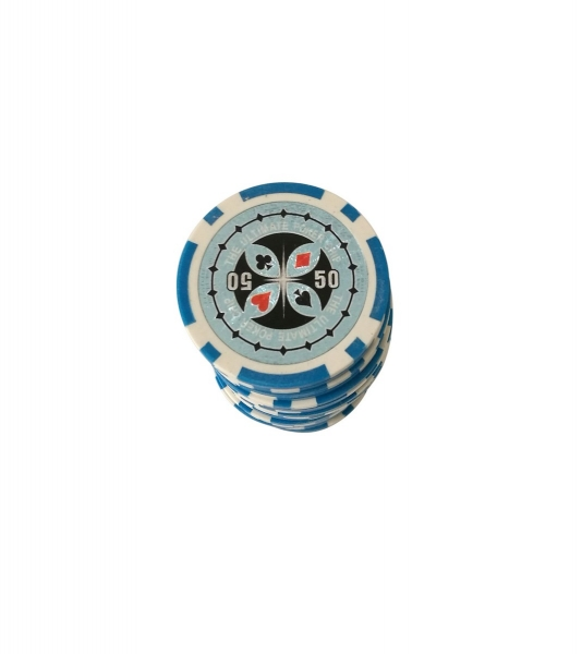 Set 25 jetoane poker ABS 11,5 gr model Ultimate, inscr. 50 0