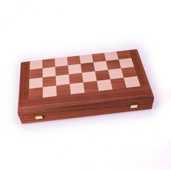 Set joc table/backgammon cu tabla de sah la exterior– lemn de mahon inlaid – 47,5 x 50 cm 1