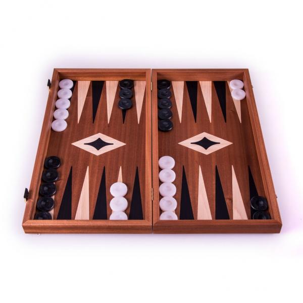 Set joc table/backgammon cu tabla de sah la exterior– lemn de mahon inlaid – 47,5 x 50 cm 0