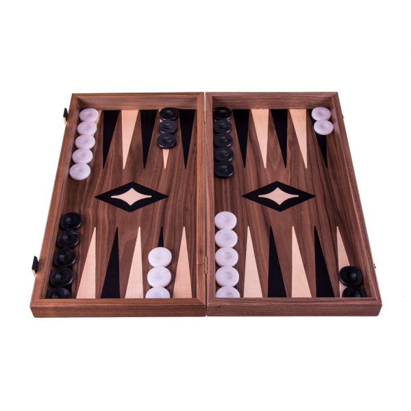 Set joc table backgammon cu tabla de sah la exterior lemn de nuc si stejar inlaid 47,5 x 50 cm imagine