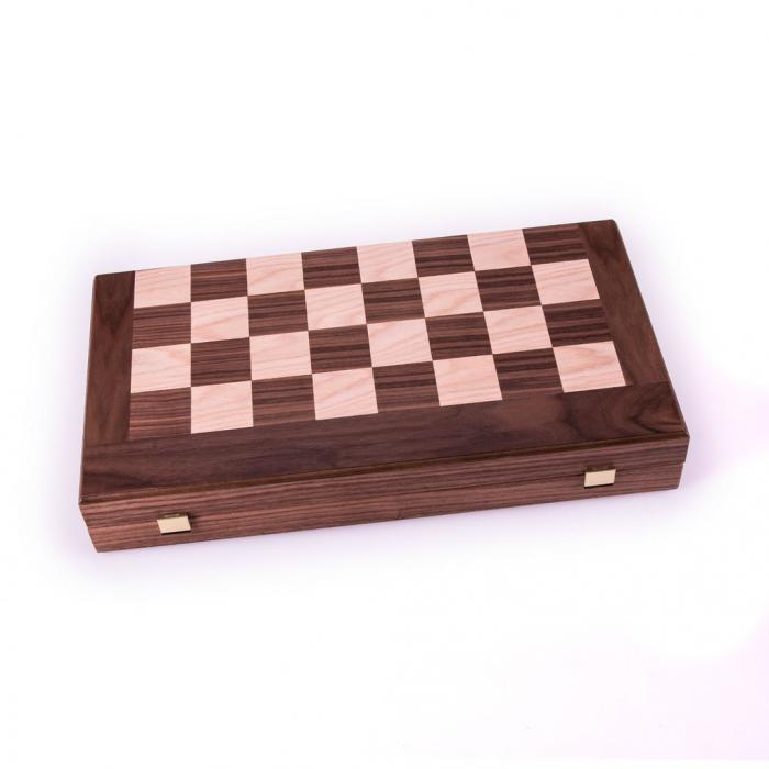 Set joc table/backgammon cu tabla de sah la exterior– lemn de nuc si stejar inlaid – 47,5 x 50 cm 0